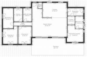 plan de maison plain pied 3 chambres gratuit plan de With plan de maison 100m2 1 plan maison 100 m178 en v de plain pied ooreka