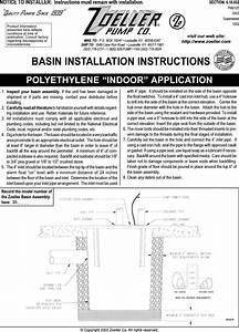 457 2 Zoeller 31 0081 Product Instructions Fm2125 Basin
