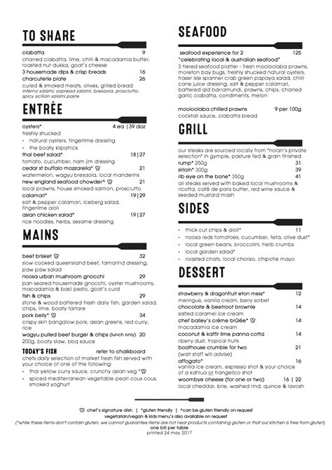 Boathouse Lunch Menu by Lunch And Dinner Menu Noosa Boathouse