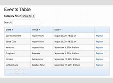 Events List Table Template Event Smart Support