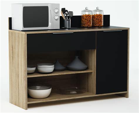 meuble cuisine noir meuble de rangement de cuisine chêne brut noir miky