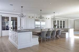 Banquette Seating off Island - Transitional - kitchen