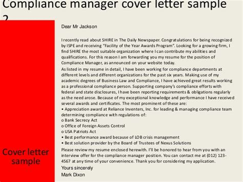 financial compliance officer cover letter compliance manager cover letter