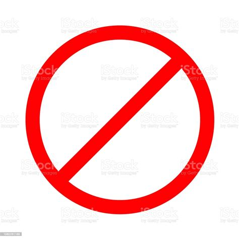 No Sign Red Circle Line Illegal Icon Stock Illustration