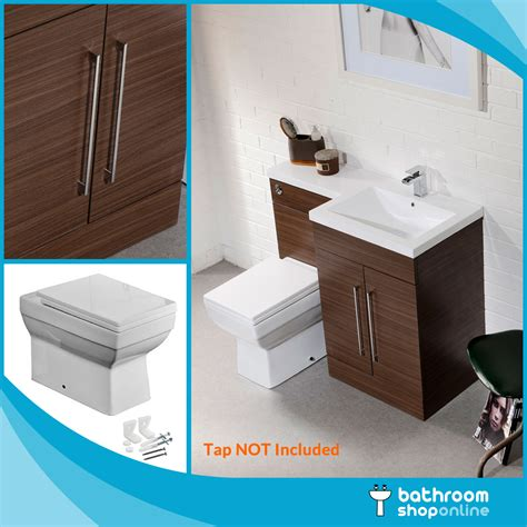 L Shaped Bathroom Vanity Unit by L Shape Walnut Bathroom Furniture Suite Basin Btw Toilet