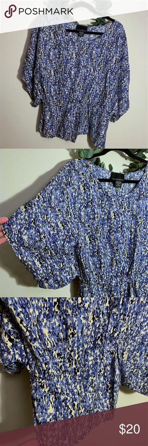cynthia rowley blue cream black cinched top xl cynthia