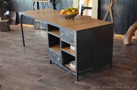 meuble ilot cuisine îlot central de cuisine sur mesure en bois et acier