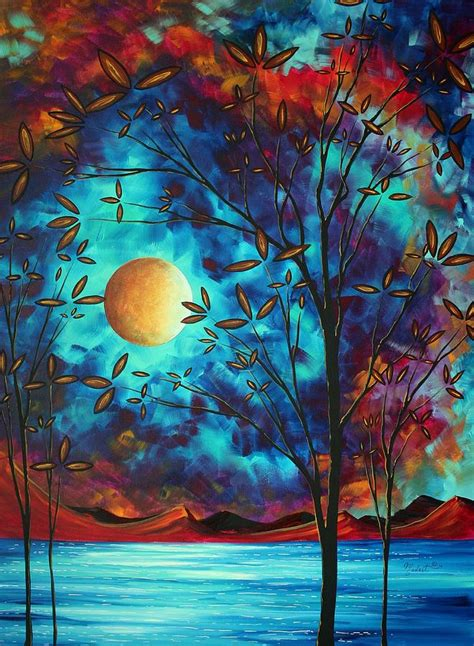 Moon through the branches coffee painting for beginners. Abstract Art Landscape Tree Blossoms Sea Moon Painting VISIONARY DELIGHT by MADART Painting by ...