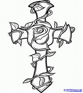 Step 8. How to Draw a Rose and Cross Tattoo