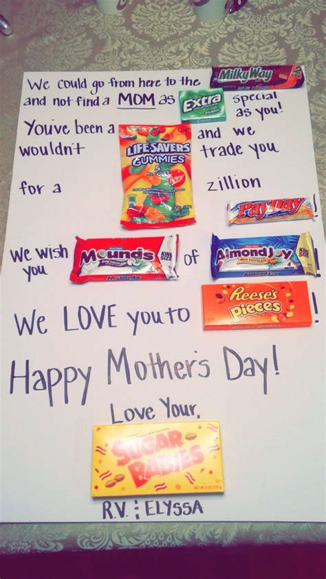 mothers day candy poster card  homemade birthday