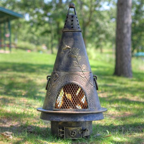 garden chimineas chiminea garden style cast aluminum wood burning outdoor