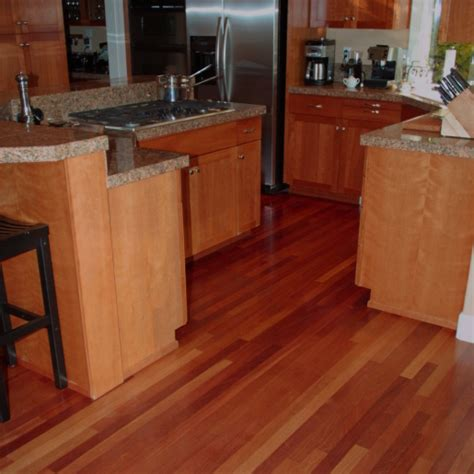 kitchen color schemes with wood cabinets brazilian cherry hardwood flooring prefinished