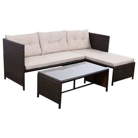 Settee Set by 3 Pcs Outdoor Rattan Furniture Sofa Set Lounge Chaise