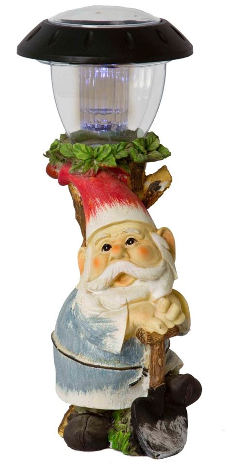outdoor garden gnome patio solar powered led light statue