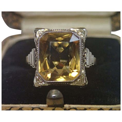 deco citrine ring 14k white gold filigree with yellow gold sold on ruby