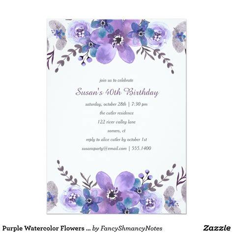purple watercolor flowers birthday invitation beautiful