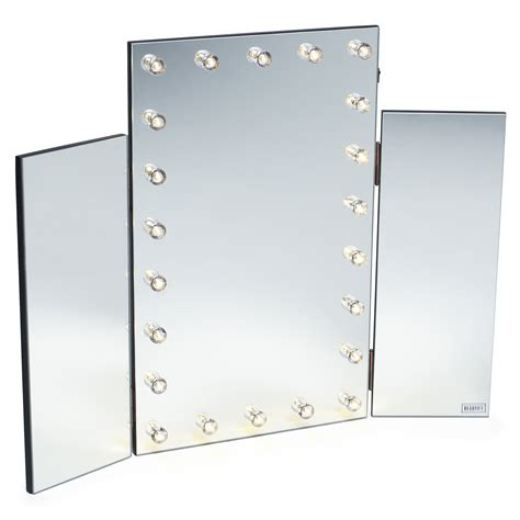desk mirror with lights beautify led light table top tri 3 way fold folding