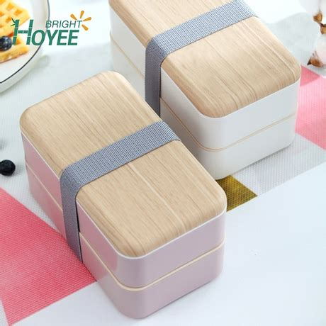nordic style double layer lunch box wooden style office worker students lunch box buy natural