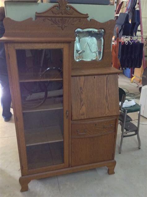 antique larkin oak drop front desk secretary bookcase