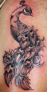 Black Grey Peacock Tattoo