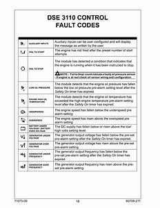 Dse 3110 Control Fault Codes