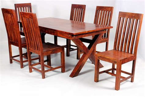 jaipur dining table with 6 chairs in solid acacia wood