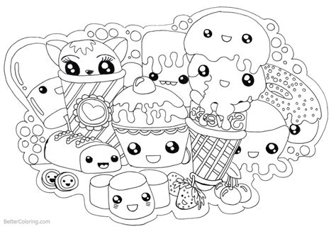cute food coloring pages kawaii foods  printable coloring pages