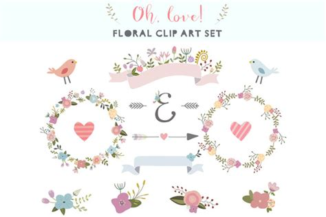 love floral clip art set illustrations  creative market