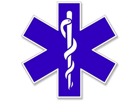 8x8 Inch Large Blue Emt Star Of Life Window Sticker -logo