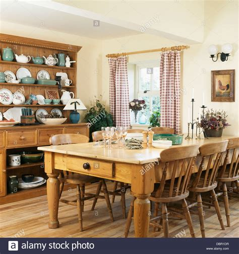 pine table  chairs  large pine dresser  country