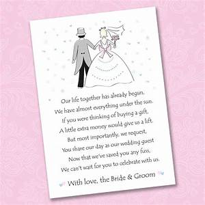 25 x wedding poem cards for your invitations ask for Wedding gift website money