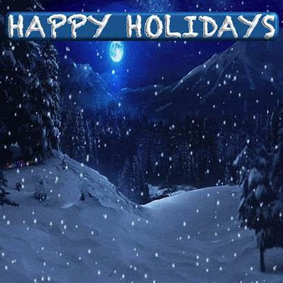 Christmas Merry Happy Wishes Snowing Animated Forest