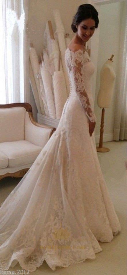 white long sleeve  shoulder lace overlay wedding dress