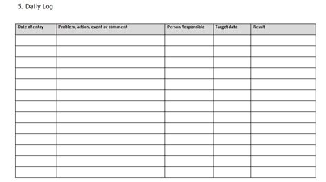 prince daily log template prince templates