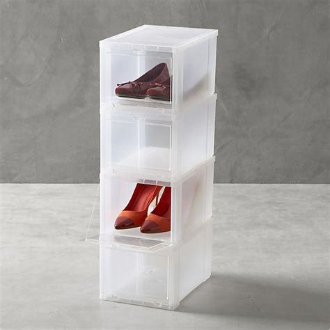 small clear shoe boxes set of four in closet crate and