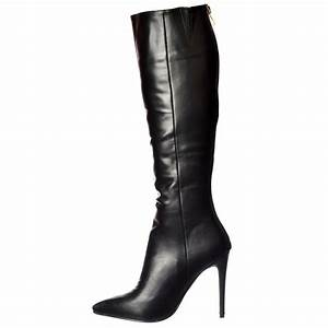 Womens Stiletto Mid Heel Sexy Pointed Toe Knee High Boots ...