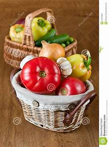 Fresh Vegetables And Tomatoes In Baskets Stock Photo ...