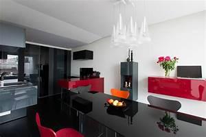 cuisine salon et chambre thematique rouge et noir With exceptional idee deco jardin contemporain 5 dilemme deco saloncuisine ouverte