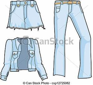 Stock Illustration of Denim fashion in bleached blue - Denim jacket skirt and... csp12725082 ...