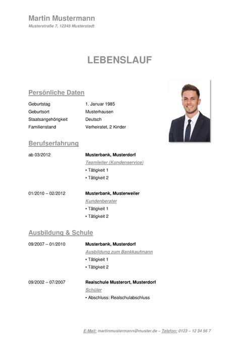Vorlage Lebenslauf Tabellarisch by Tabellarischer Lebenslauf Vorlage Kostenlose Muster Zum