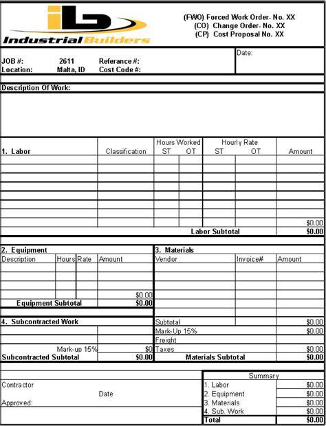 203k Contractors Resume by Change Order Form Sle Change Order Form Iphone
