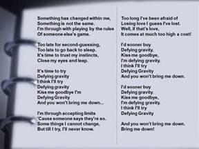 Wicked Defying Gravity Lyrics My so-called life: blogging challenge ...
