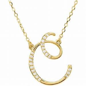 14k yellow gold alphabet initial letter c diamond pendant With letter c diamond necklace