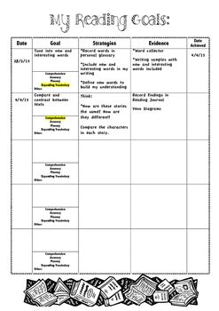 student reading goal template cafe compatible   db