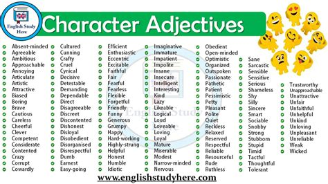 character adjectives in study here
