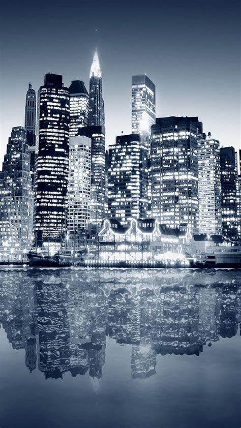 city reflection blue night android wallpaper