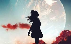 alone, wallpaper, 4k, , girl, , silhouette, , mood, , planet, , dream, , fantasy, , , 1139