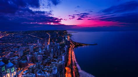 full hd wallpaper chicago aerial view megapolis evening