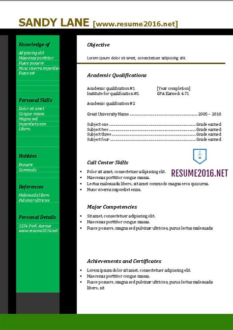 Resume Template In Word 2016 by Resume 2016 Resume Templates In Word