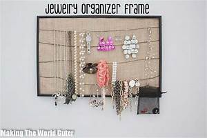 DIY Jewelry Organizer-Cute and Easy Frame, Burlap & Wire